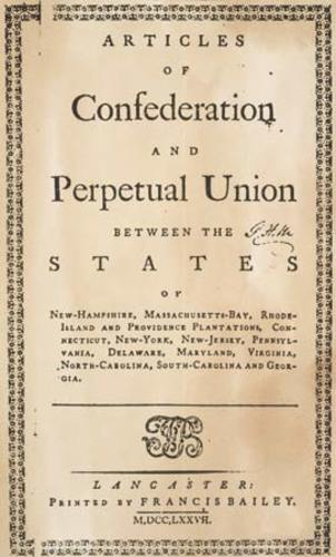 Excerpts From The Articles Of Confederation
