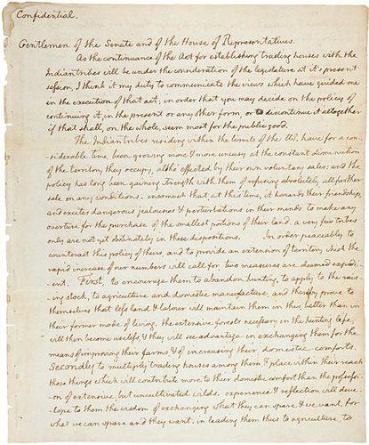 Jefferson's Secret Message to Congress Regarding the Lewis & Clark Expedition (1803)