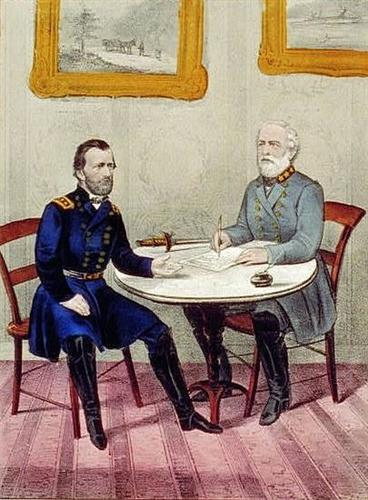 Lee Surrenders To Grant,  April 9th, 1865