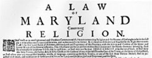 Maryland Toleration Act; September 21, 1649