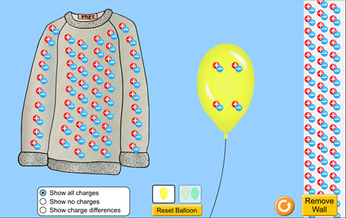 Teaching Balloons and static electricity [PhET Simulation]