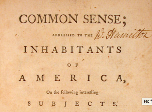 Teaching EXCERPT: Common Sense (1776)