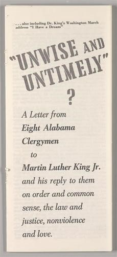 Letter to Martin Luther King from a Group of Clergymen (1963)