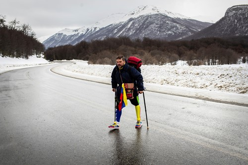 Teaching Venezuelan man makes 'one-legged' trek across South America